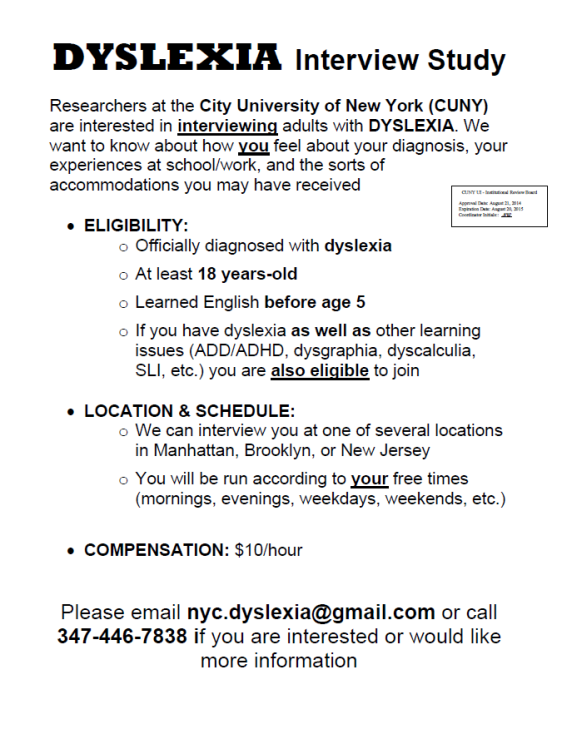 Dyslexia Interview Flyer